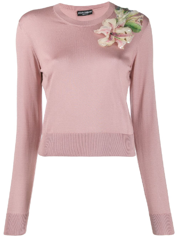 7630b087c6437a Dolce & Gabbana - Lily Appliqué Silk Sweater - Womens - Pink | ModeSens