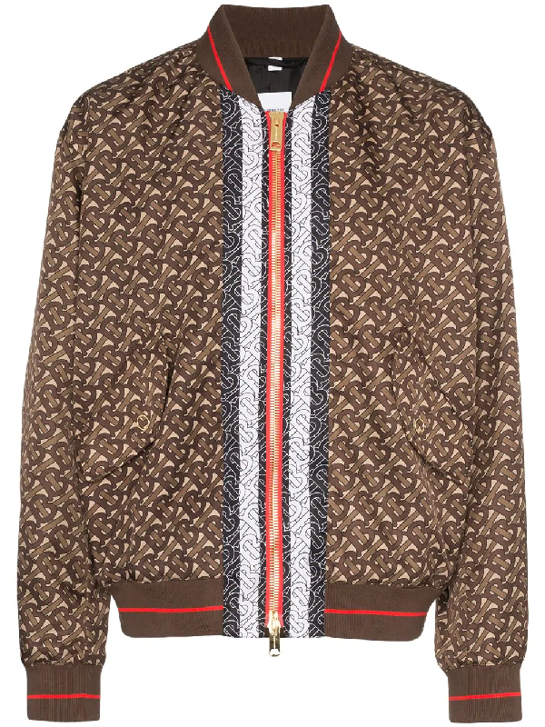 e65274383 Burberry Monogram Stripe Print Nylon Bomber Jacket In Brown | ModeSens