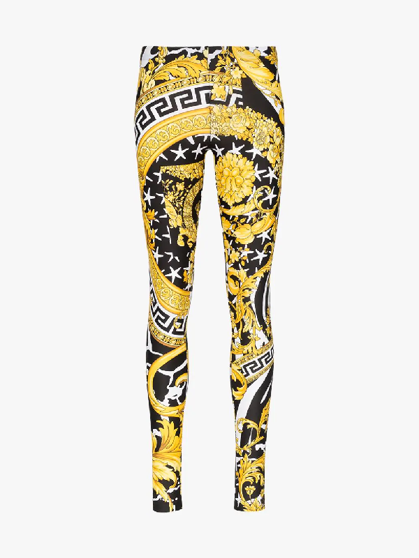 Versace Savage Baroque Stretch-Jersey High-Waist Pants In Yellow