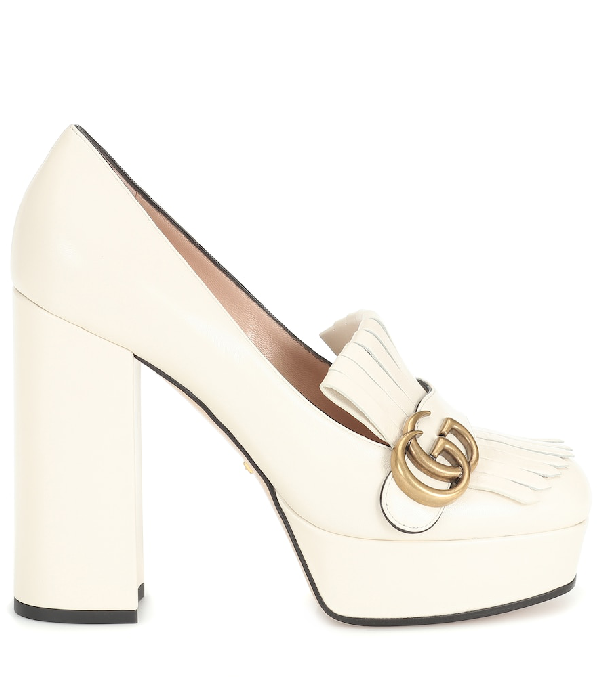 Gucci Marmont Leather Platform Pumps In White