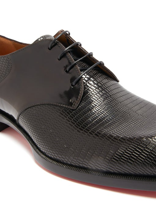 CHRISTIAN LOUBOUTIN À MON HOMME EMBOSSED LEATHER DERBY SHOES