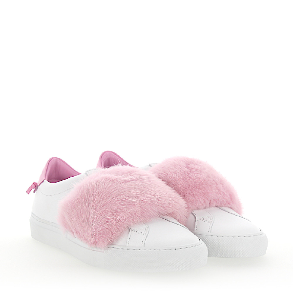 Givenchy Slip-On Sneakers Leather White Mink Fur Pink In Pink,White