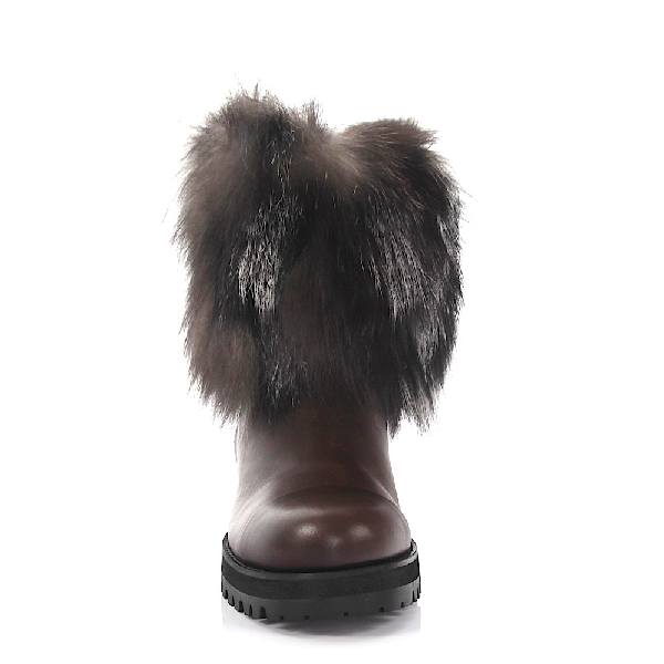 fdf4a4ba634 Jimmy Choo Ankle Boots Dana Calfskin Fox Fur Fur Fur Upper Brown-Combo