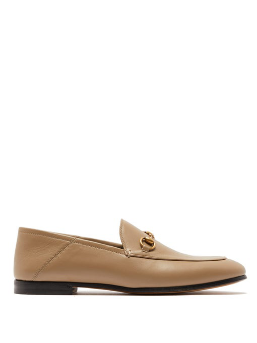 Gucci Brixton Horsebit-Detailed Leather Collapsible-Heel Loafers In Neutrals