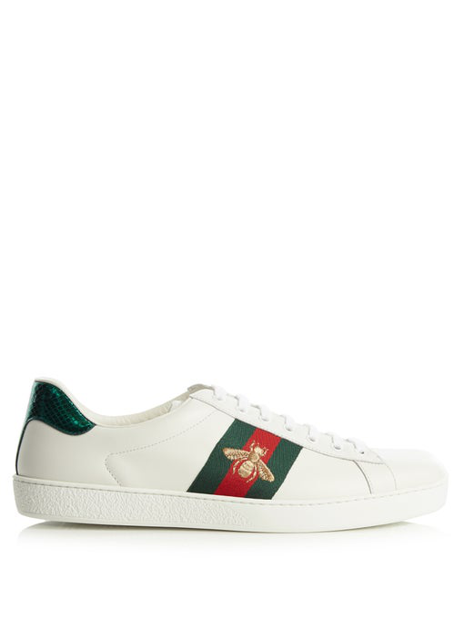 Gucci Ace Watersnake-Trimmed Embroidered Leather Sneakers In 9064 Ivory