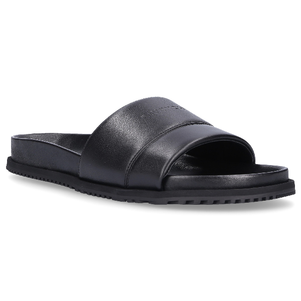 Givenchy Beach Sandals Plaza Calfskin Logo Black