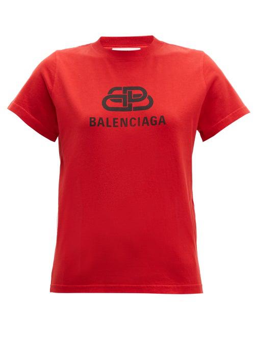 af01cd93 Balenciaga - Bb Logo Print Cotton T Shirt - Womens - Red | ModeSens