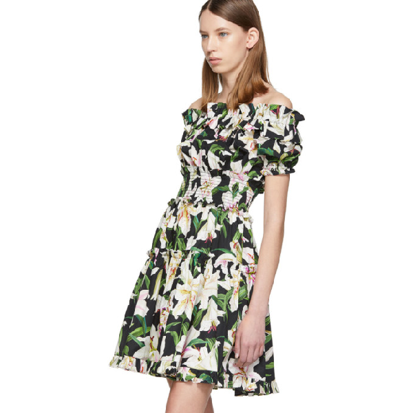 Dolce & Gabbana Off-The-Shoulder Ruffled Floral-Print Cotton-Poplin Dress In Hnkk8 Multicoloured