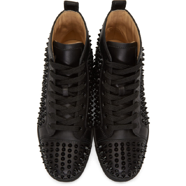 Christian Louboutin Louis Spike-Embellished High-Top Leather Trainers In Black