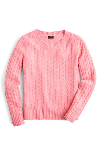 Everyday Cashmere Cable Crewneck Sweater In Flamingo