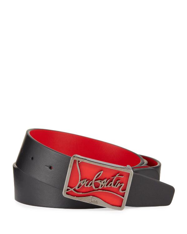 Christian Louboutin Men's Ricky Leather Belt W/ Brass Logo Buckle In Black/Red
