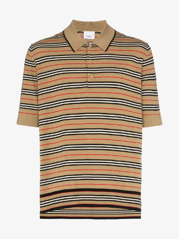 f5861b096a9750 Burberry Men's Beaford Striped Wool Polo Shirt In A7026. Browns Fashion