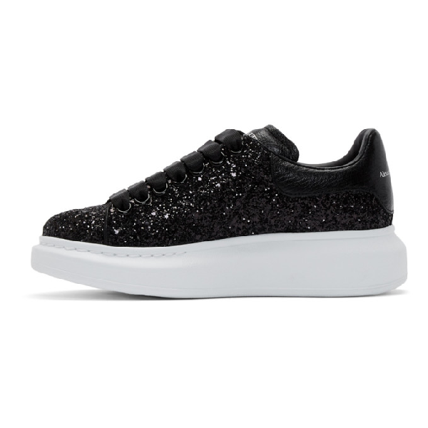 0d298bf29348 Alexander Mcqueen Glitter Leather Platform Sneakers In Black | ModeSens