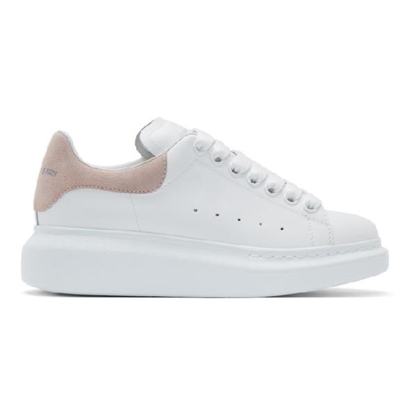 Alexander Mcqueen Runway Crocodile-Embossed Detail Leather Trainers In White