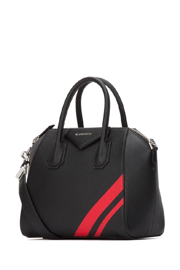 e2ab1e3131 Givenchy Antigona Small Striped Leather Satchel Bag In 009 Black Red ...