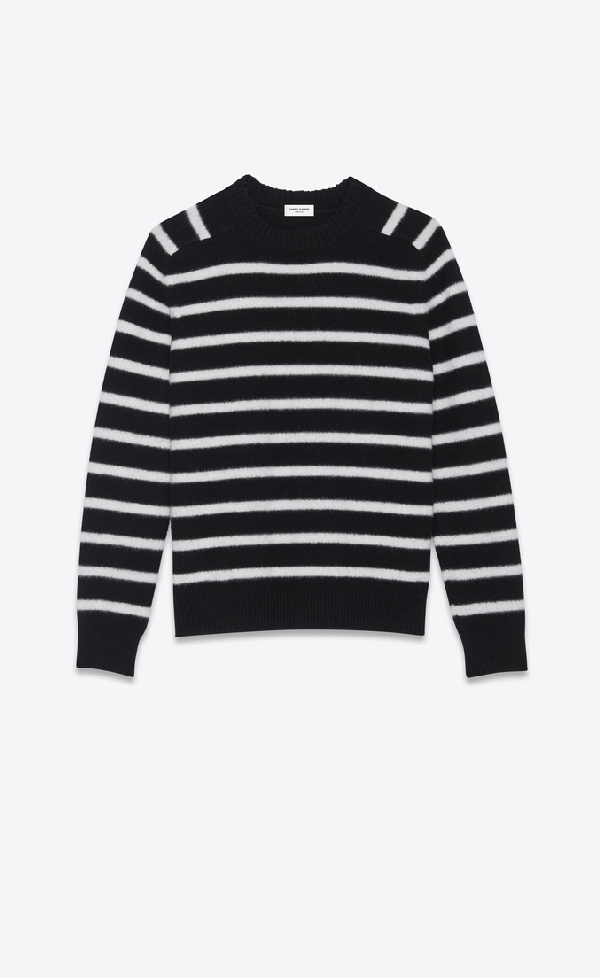 Saint Laurent Striped Brushed Virgin Wool Sweater In Black