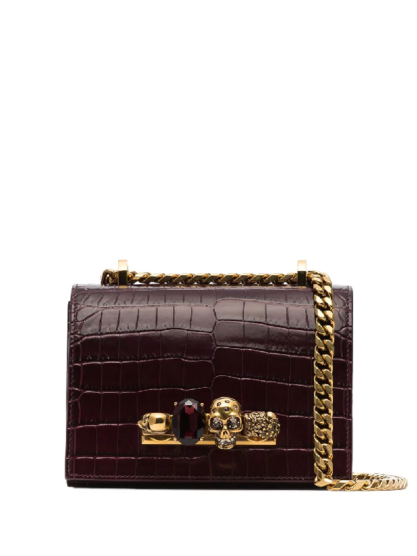 5e23597026a Alexander Mcqueen Burgundy Small Jewelled Leather Cross Body Bag In Red.  Farfetch