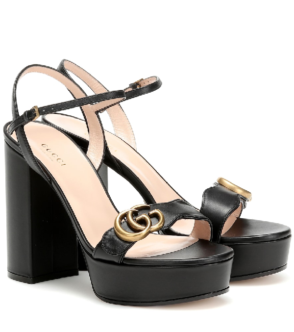Gucci Marmont Platform Leather Sandals In Black
