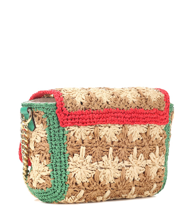 5acee5985567 Gucci Marmont - Gg Marmont Raffia Small Shoulder Bag In Multicolour ...