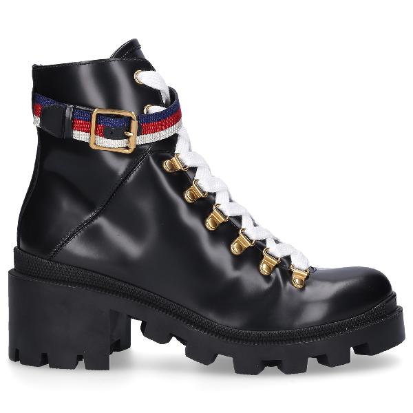 cd7bd074cd5 Grosgrain-Trimmed Leather Ankle Boots in Black