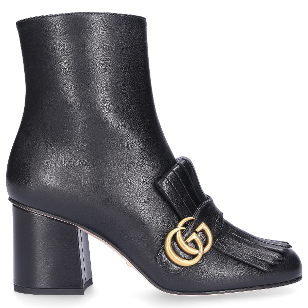 Gucci Marmont Fringed Logo-Embellished Leather Ankle Boots In Black