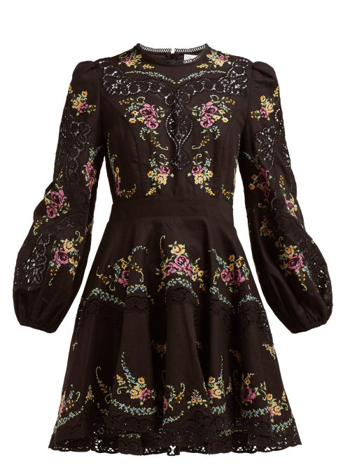 Zimmermann - Allia Floral Cross Stitch Linen Blend Mini Dress - Womens - Black