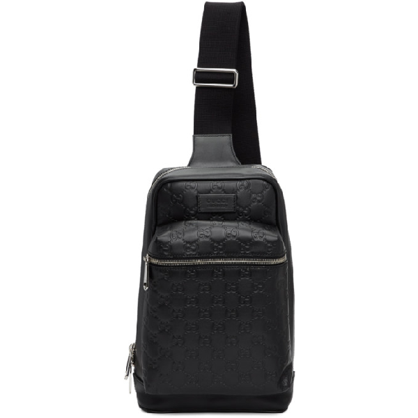 7fac55b95 Gucci Black Signature Messenger Bag | ModeSens