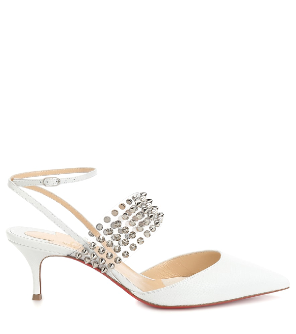 dcbdfe900d7 Levita 55 Spiked Transcluent & Leather Ankle Strap Pumps in Version White