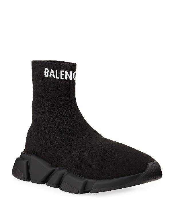 Balenciaga Men's Tall Speed Knit Sock Sneakers In Black