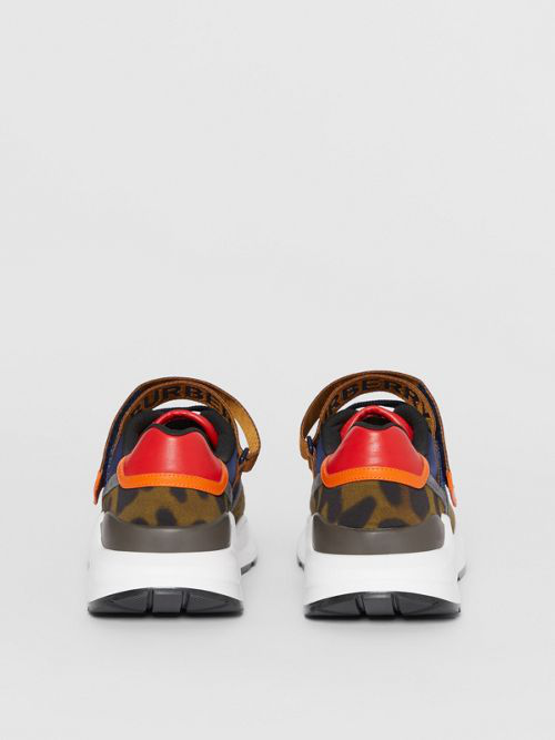 Burberry Logo Detail Leopard Print And Leather Sneakers In Black