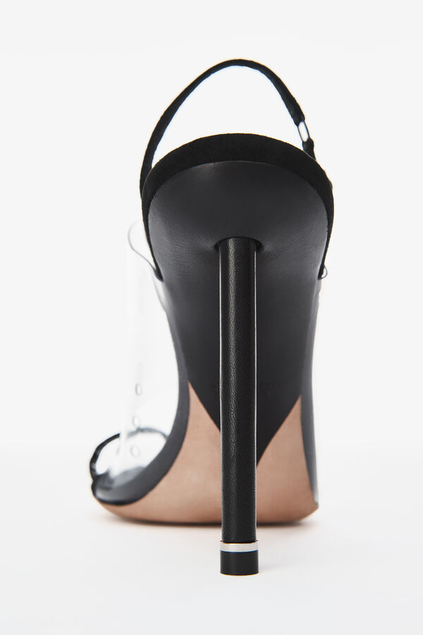 Alexander Wang Kaia Grosgrain-Trimmed Suede And Pvc Slingback Sandals In Black