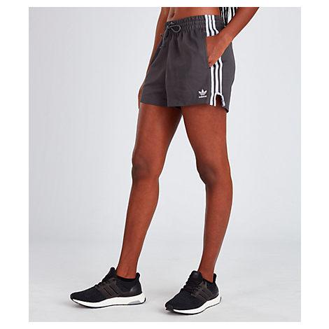 d2a0851ddc468 Women's Originals 3-Stripes Shorts, Grey - Size Large