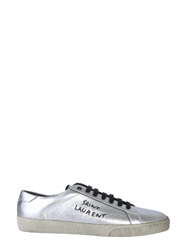 d08adcfa98a Saint Laurent Court Classic Sl/06 Embroidered Sneakers In Used-Look  Metallic Leather In