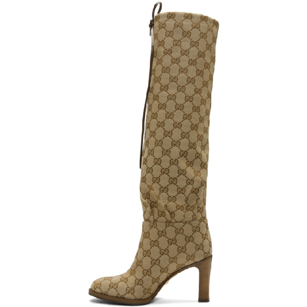 Gucci Leather-Trimmed Coated-Canvas Knee Boots In Neutrals