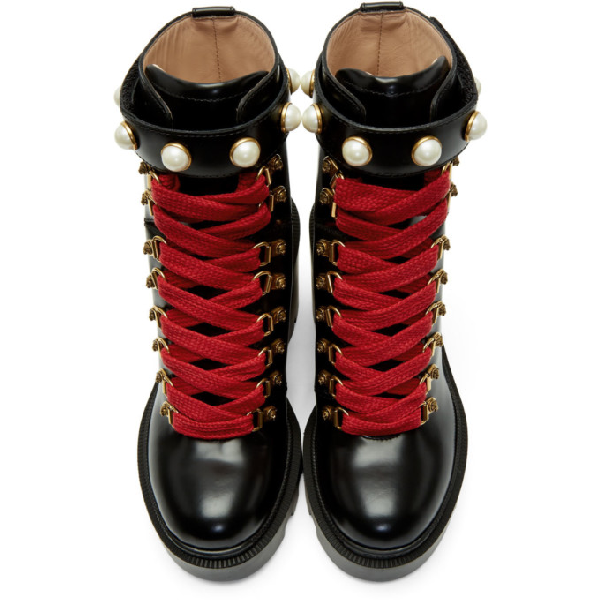 Gucci Trip Leather Ankle Boots In Black