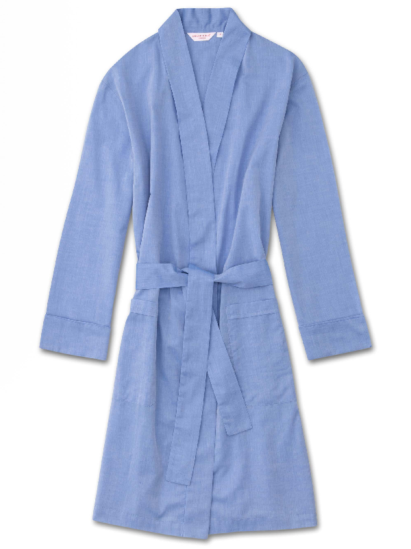 Derek Rose Women's Robe Amalfi Cotton Batiste Blue
