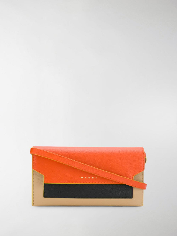 Marni Trunk Colourblock Crossbody Bag In Orange