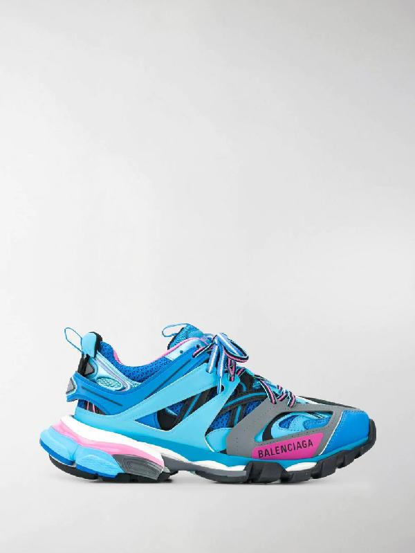 Balenciaga Men's 542023W1Gb54162 Light Blue Leather Sneakers In 4162 Blue
