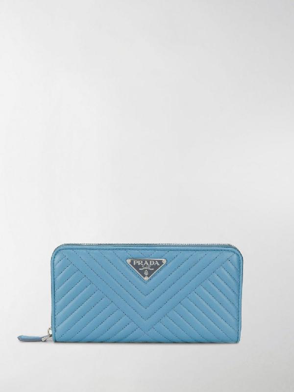 e94e4167ea74 Prada Logo Plaque Quilted Wallet In Blue | ModeSens