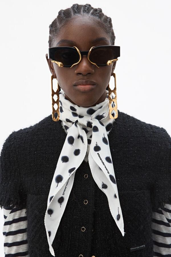 Alexander Wang Metallic Wool-Blend Tweed Short-Sleeve Jacket In Black
