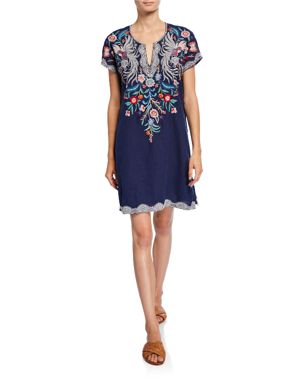Plus Size Bisous Embroidered Short-Sleeve Easy Linen Tunic Dress in Navy