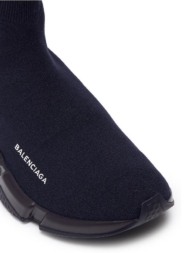 Balenciaga Men's Logo Speed Sneakers With Tonal Rubber Sole In Blue