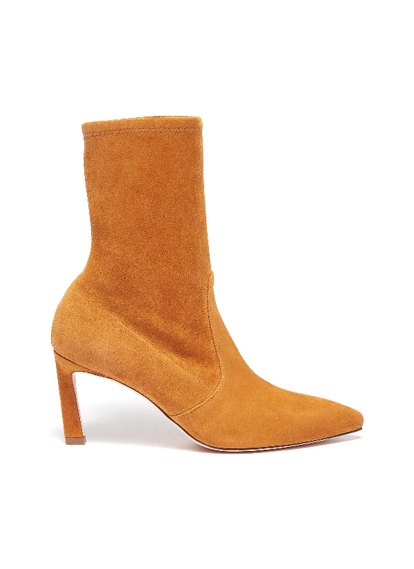 3732e3d33 Stuart Weitzman 'Rapture' Stretch Suede Ankle Boots In Mustard Yellow