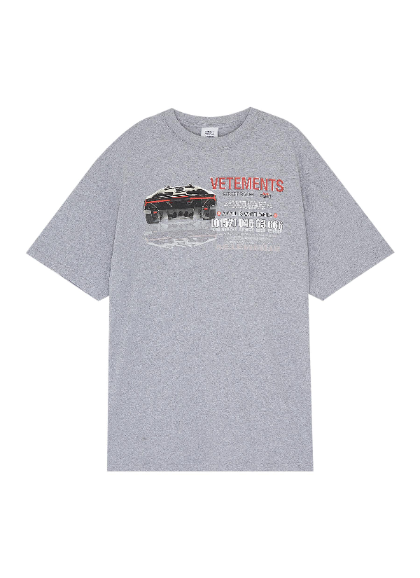 201511ad Vetements 'Car Hotline' Slogan Graphic Print Oversized Unisex T-Shirt In  Heathered Grey