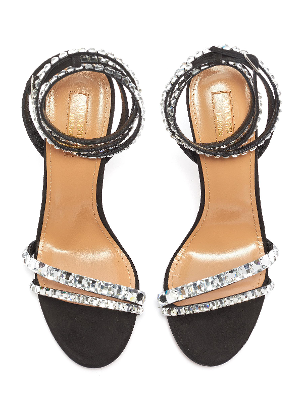 00e4ecf88 Aquazzura So Vera 105 Crystal-Embellished Suede Sandals In Black ...