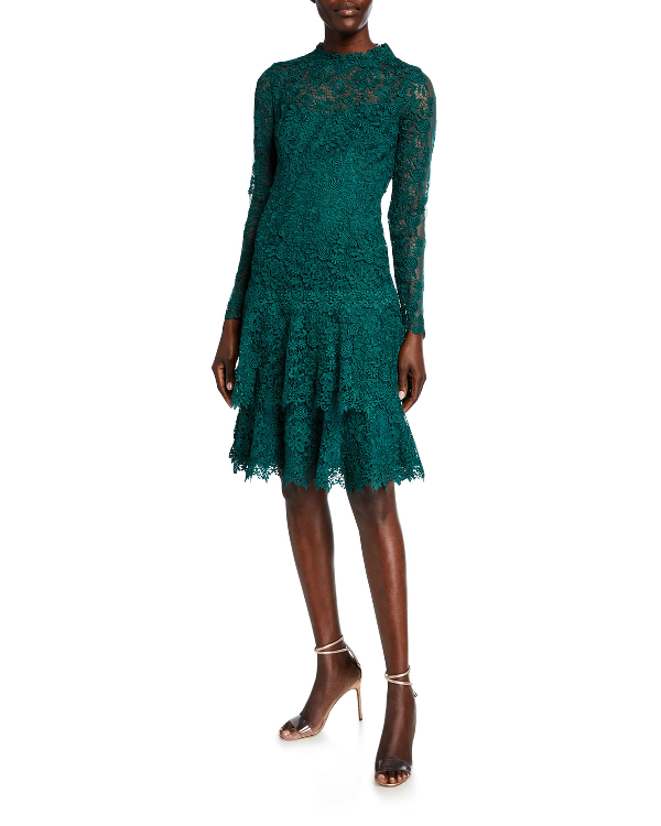 697784ac5b20 Rickie Freeman For Teri Jon Floral Lace Mock-Neck Long-Sleeve Tiered Dress  In