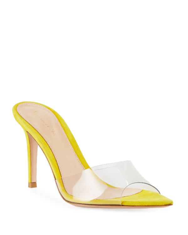 Gianvito Rossi Plexi See-Through Vinyl/Suede Slide Sandals In Yellow