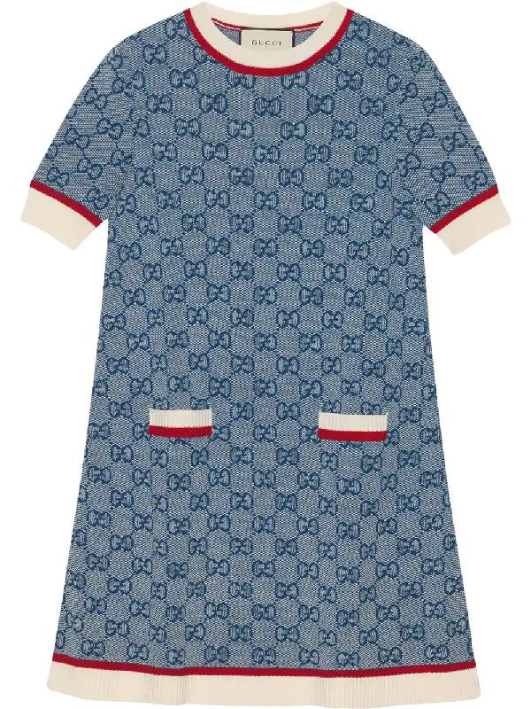 04f88d679 Gucci Gg Logo Jacquard Shift Sweater Dress In 4354 Blue | ModeSens