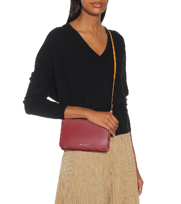 Marni Beat Mini Leather Crossbody Bag In Red