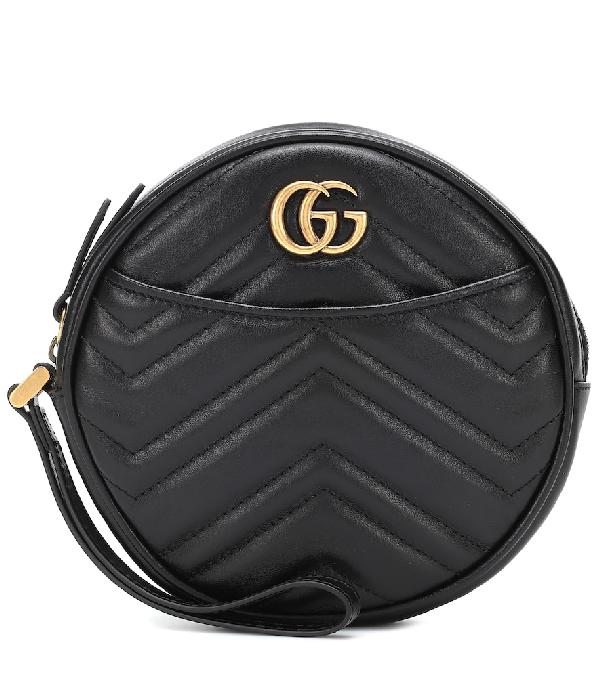 Gucci Marmont 2.0 Leather Wristlet Clutch - Black